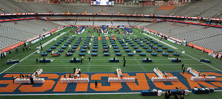 A view of the Carrier Dome field at the Spring Receptions